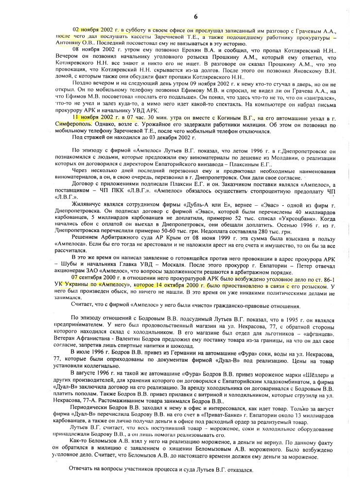 ПРИГОВОР Л. 12.07.06 д.1-2.06 ОБОГАТИЛСЯ на 300.000 грн (6)